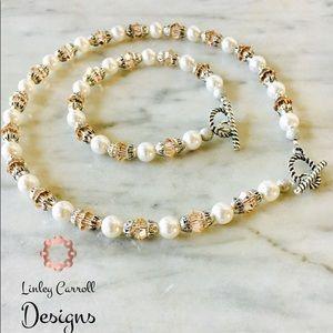 Jewelry - Swarovski Pearl & Peach Crystal Set